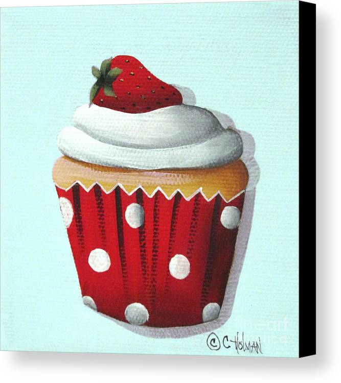 Art Canvas Print featuring the painting Strawberry Shortcake Cupcake by Catherine Holman