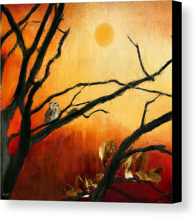 Owl At Sunset Canvas Print featuring the digital art Sunset Sitting by Lourry Legarde