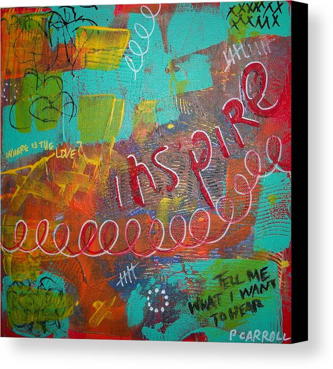 Abstract Canvas Print featuring the painting tell me what I want to hear by Peggy Carroll