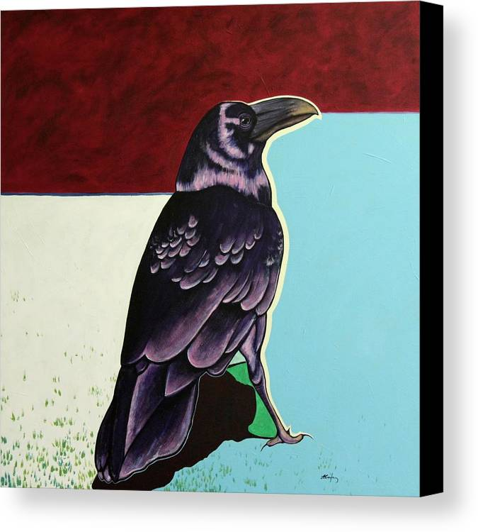 Wildlife Canvas Print featuring the painting The Gossip - Raven by Joe Triano