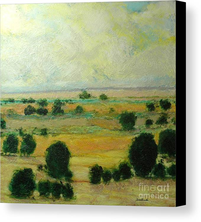 Landscape Canvas Print featuring the painting Till The Clouds Rolls By by Allan P Friedlander