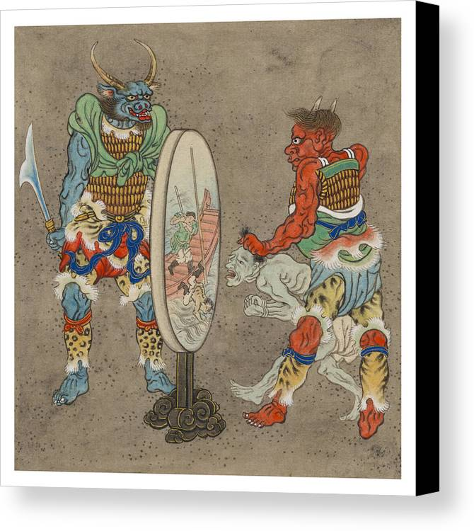 Myth Canvas Print featuring the painting Two Mythological Buddhist Or Hindu Figures Circa 1878 by Aged Pixel