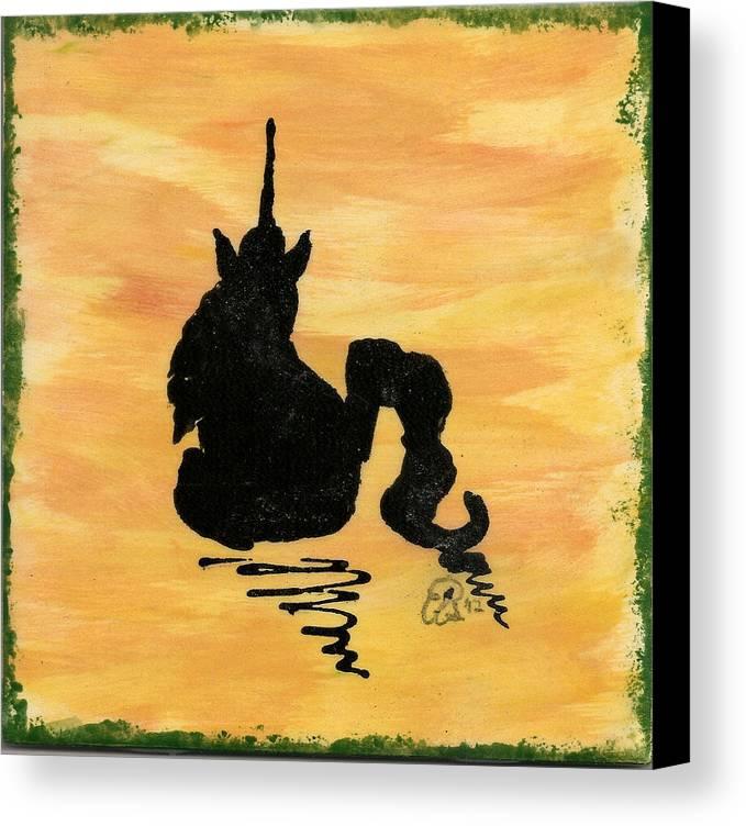 Unicorn Canvas Print featuring the ceramic art Unicorn At Rest by Gail Schmiedlin