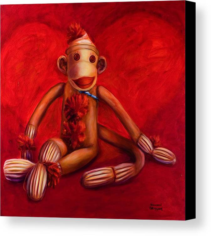Children Canvas Print featuring the painting Valentine by Shannon Grissom
