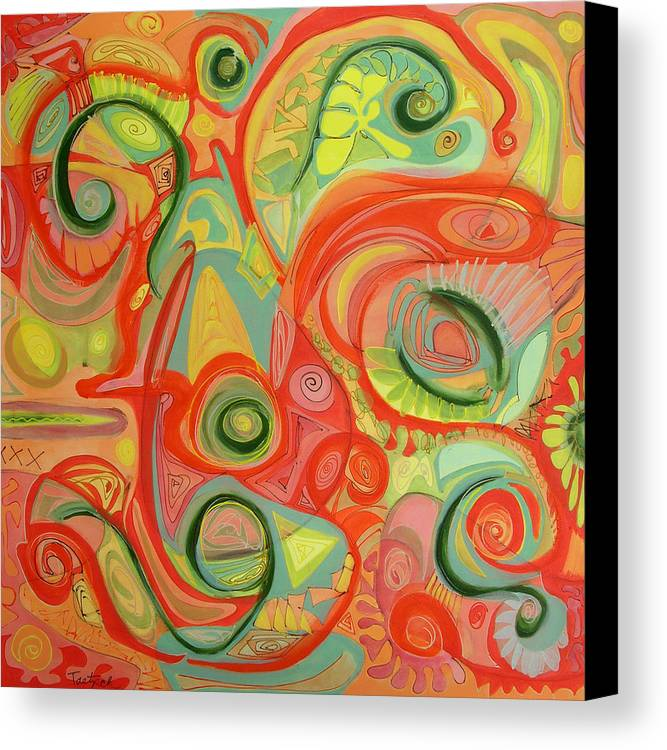 Abstract Canvas Print featuring the painting Eye On The Dawn by Lynne Taetzsch