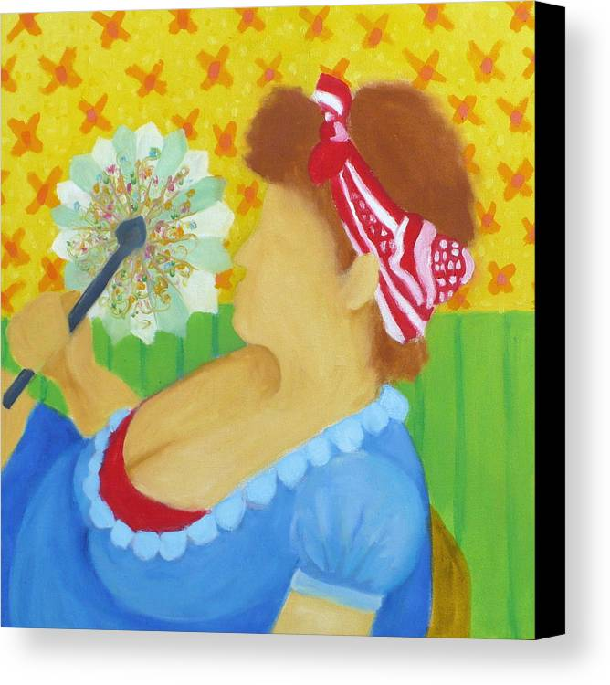 Fan Canvas Print featuring the painting Girl With Fan by Diana Ogaard