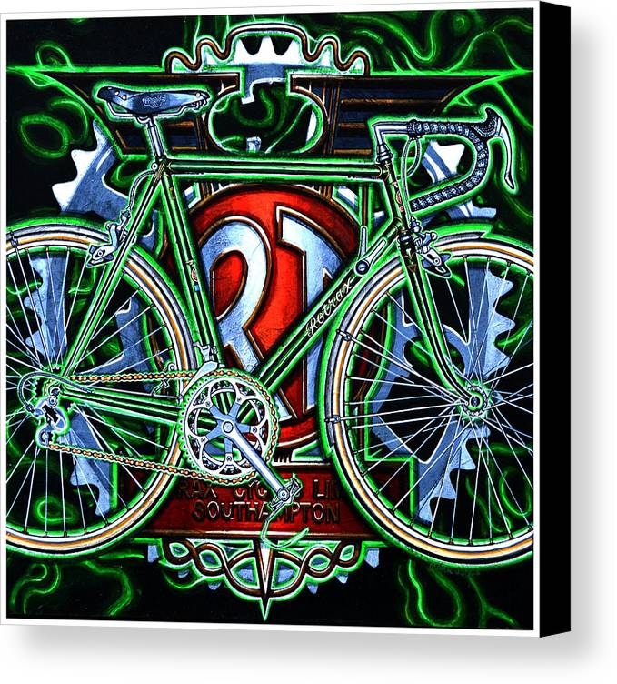 Bicycle Canvas Print featuring the painting Rotrax by Mark Jones