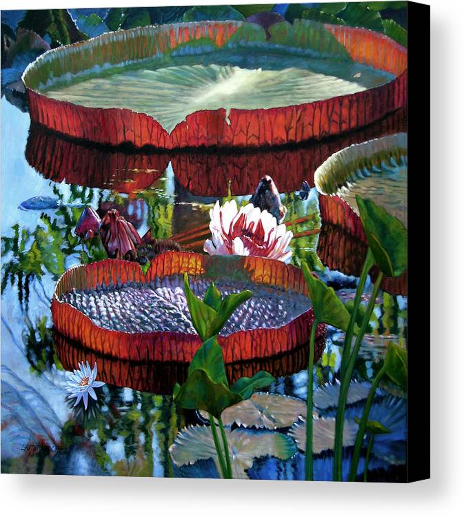 Water Lilies Canvas Print featuring the painting Sunlight Shining Through by John Lautermilch