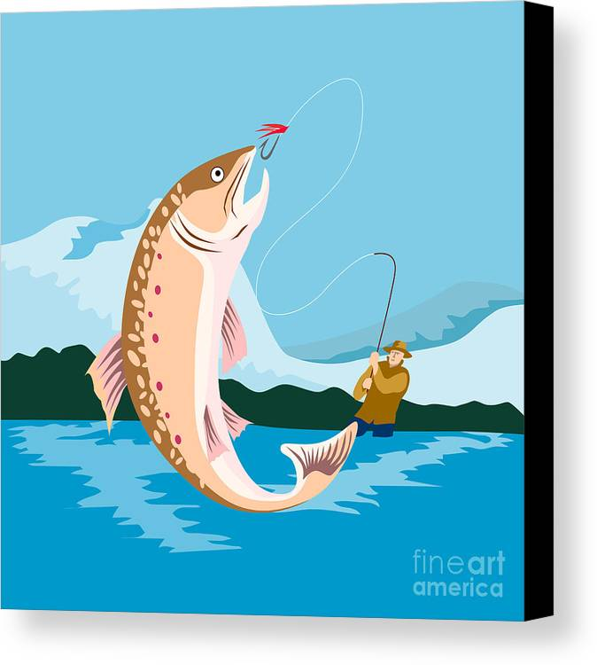 Fly Fisherman Canvas Print featuring the digital art Fly Fisherman Catching Trout by Aloysius Patrimonio
