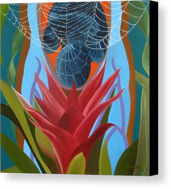 Spider Canvas Print featuring the painting A Spider Baby by Sunhee Kim Jung