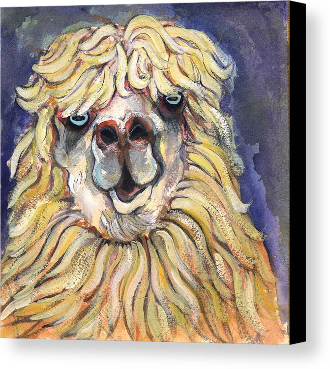 Animals Canvas Print featuring the painting Alpaca by Michelle Spiziri