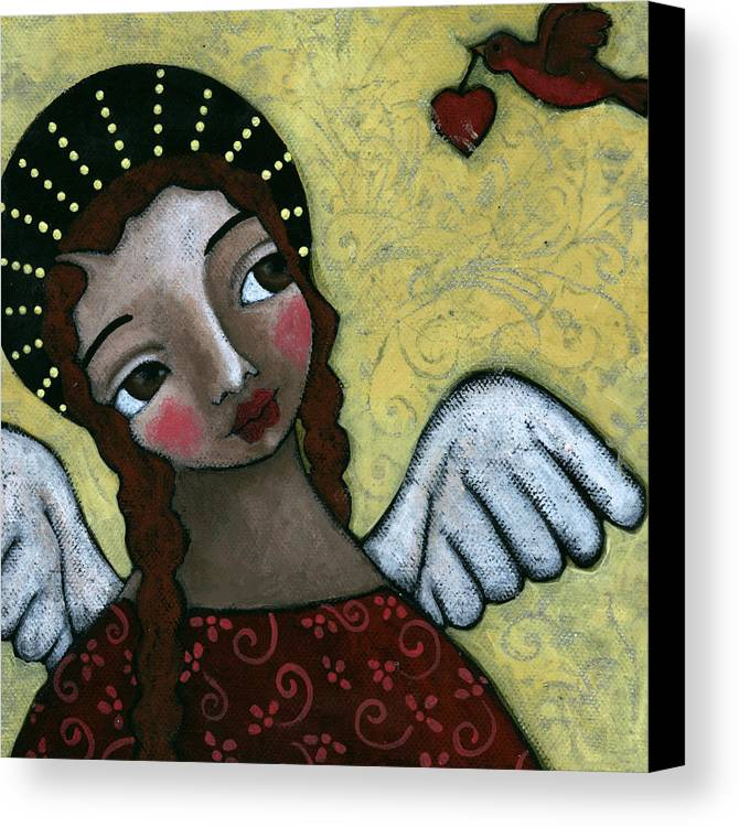 Angel Canvas Print featuring the painting Angel With Bird Of Peace by Julie-ann Bowden