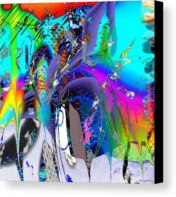 Abstract Red Blue Yellow Purple Canvas Print featuring the digital art Ants by Dave Kwinter