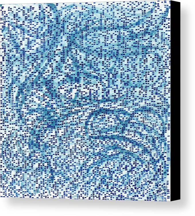 Square Abstract Pattern Blue Turquoise White Cool Canvas Print featuring the painting Aqua Minerale by Joan De Bot