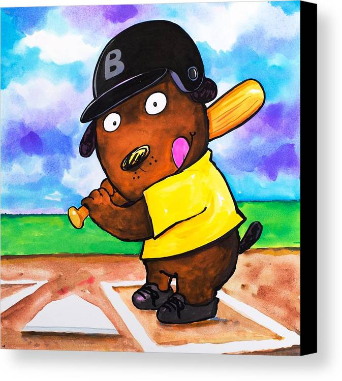 Dog Canvas Print featuring the painting Baseball Dog by Scott Nelson