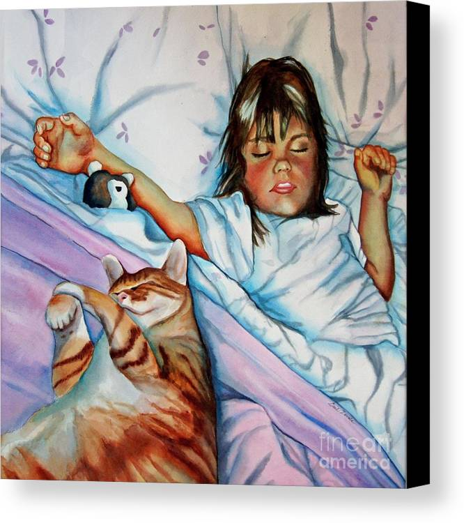 Child Canvas Print featuring the painting Bed Buddies by Gail Zavala