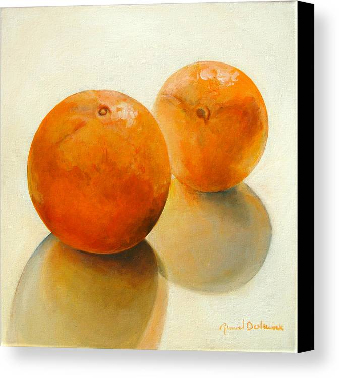 Still Life Canvas Print featuring the painting Billes Oranges by Muriel Dolemieux