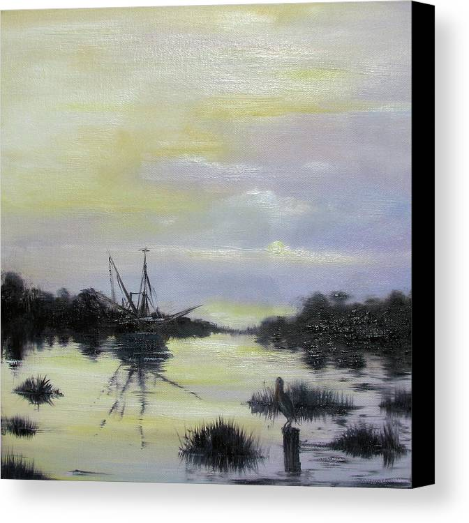 Oil Spill Canvas Print featuring the painting Black Bayou by Judy Merrell