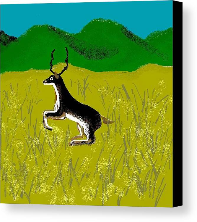 Deer Canvas Print featuring the digital art Black Buck by Carole Boyd