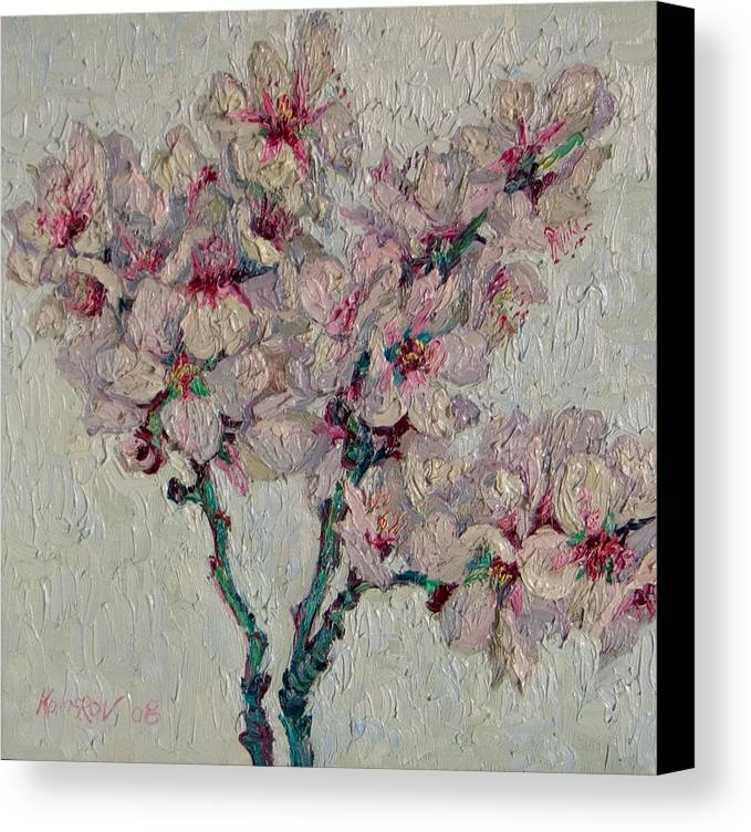 Blossoming Canvas Print featuring the painting Blossoming Peaches Branch by Vitali Komarov