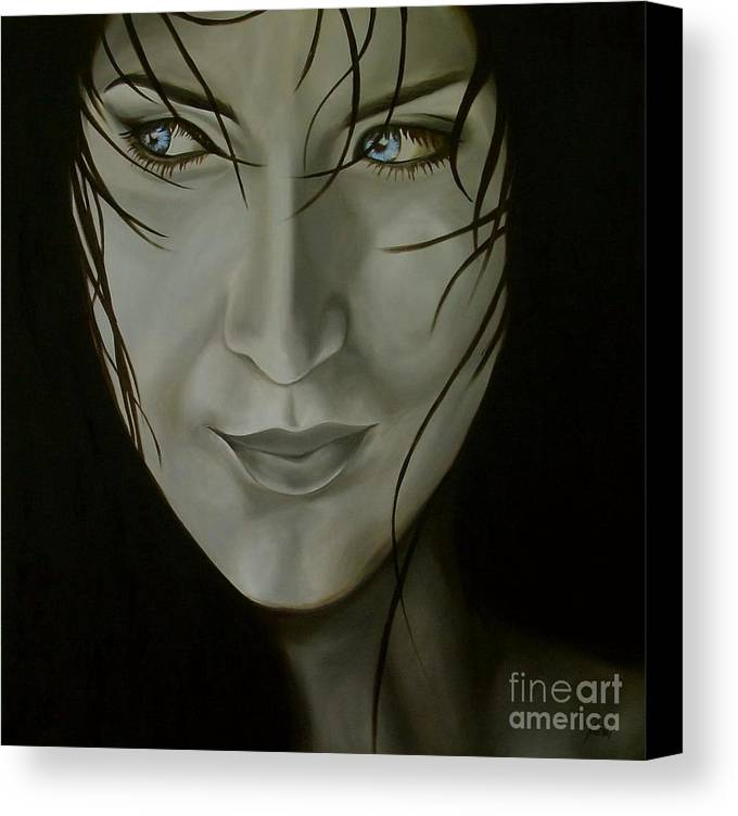 Girl Canvas Print featuring the painting Blue-eyed Girl by Jindra Noewi