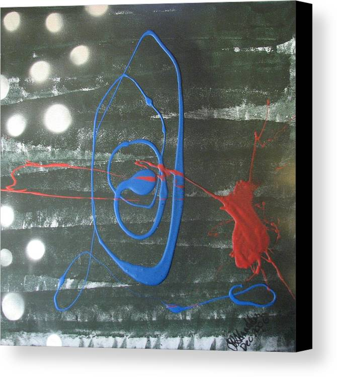 Abstrast Canvas Print featuring the painting Blue Meets Red by Joan Stratton