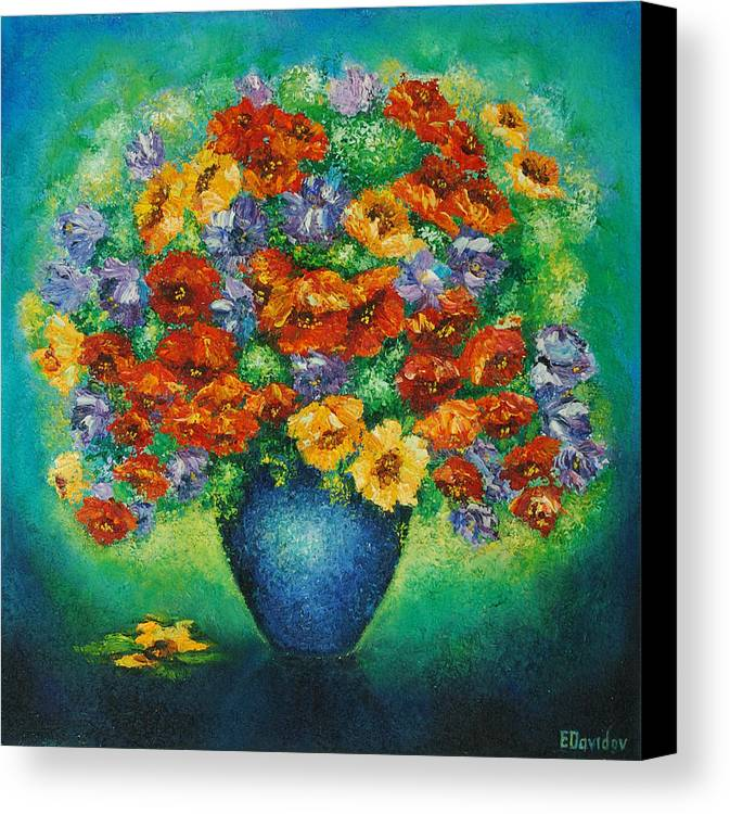 Flowers Canvas Print featuring the painting Blue Vase. by Evgenia Davidov