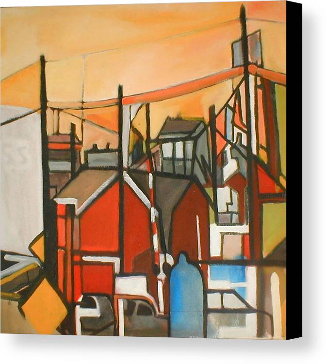 Suburban Canvas Print featuring the painting Bogota Industrial by Ron Erickson