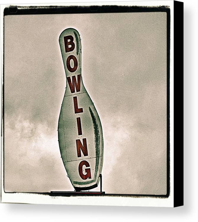 Vertical Canvas Print featuring the photograph Bowling by Photograph by Bob Travaglione FoToEdge