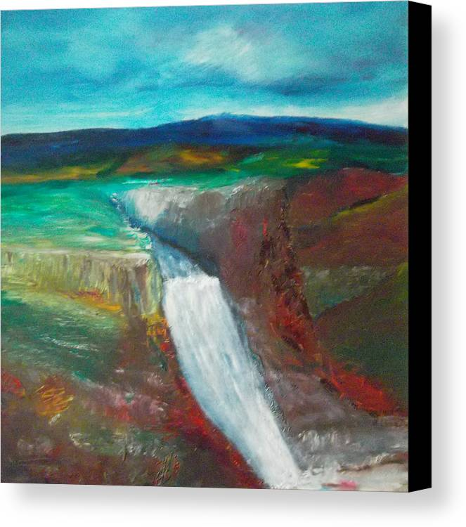 Abstract Canvas Print featuring the painting Canyon Falls by Susan Esbensen