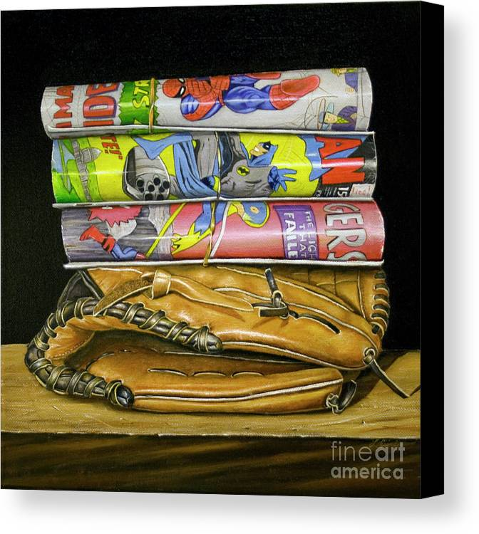 Still Life Canvas Print featuring the painting Catch The Hero by Vic Vicini