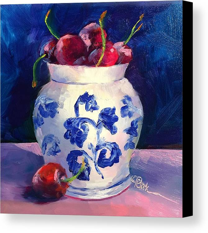 Red Canvas Print featuring the painting Cherry Delights by Donna Pierce-Clark