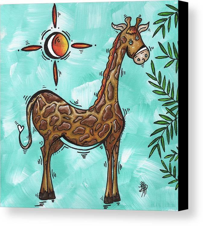 childrens nursery art original giraffe painting playful by madart