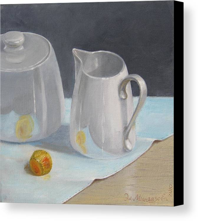 Still Life Canvas Print featuring the painting Creamer by Eleonora Mingazova