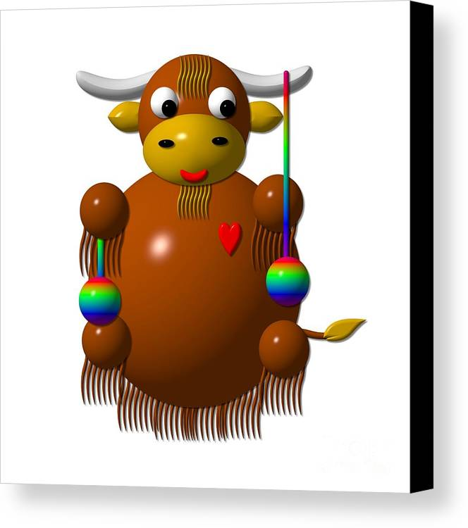 Yaks Canvas Print featuring the digital art Cute Yak With Yo Yos by Rose Santuci-Sofranko