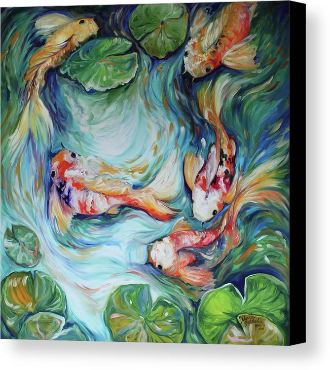 Dancing colors koi ii canvas print canvas art by marcia for Koi prints canvas