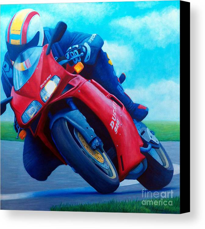 Motorcycle Canvas Print featuring the painting Ducati 916 by Brian Commerford