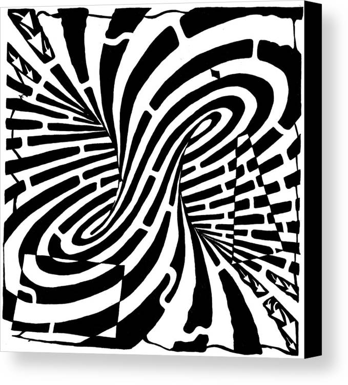 Mobius Canvas Print featuring the drawing Edge Of A Mobius Strip Maze by Yonatan Frimer Maze Artist