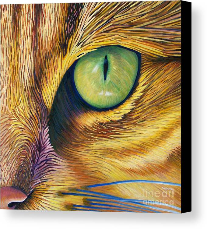 Cat Canvas Print featuring the painting El Gato by Brian Commerford