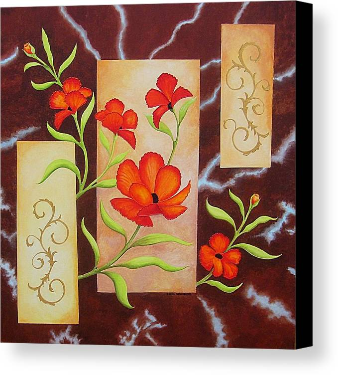 Poppies Canvas Print featuring the painting Electric Red Poppies by Carol Sabo