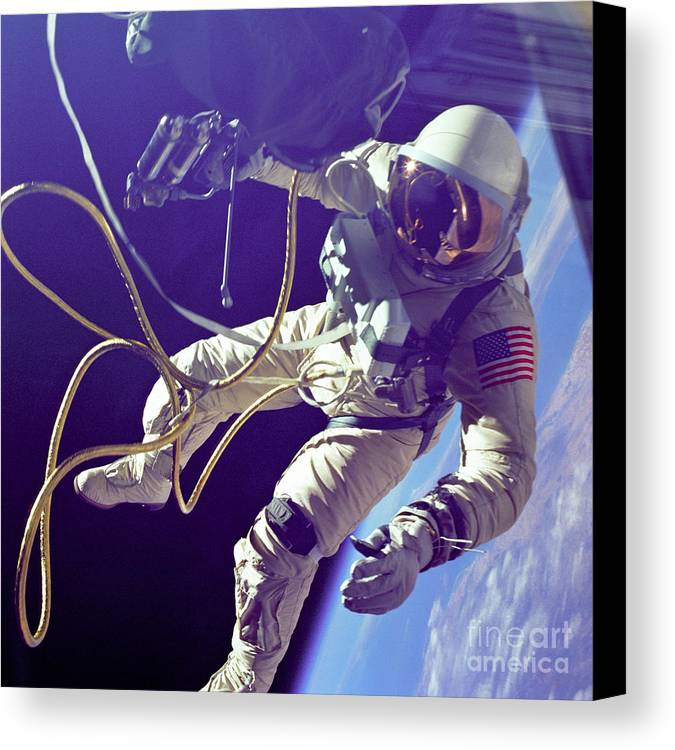 Science Canvas Print featuring the photograph First American Walking In Space, Edward by Nasa