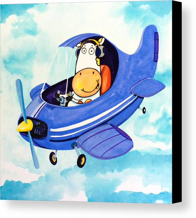 Cow Canvas Print featuring the painting Flying Cow by Scott Nelson
