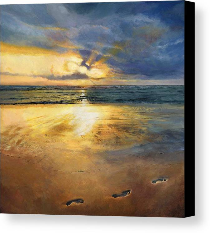 Footprints Canvas Print featuring the painting Footprints by Helen Parsley
