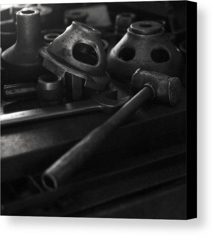 Black And White Canvas Print featuring the digital art Garage Hammer And Tools by George Ferrell