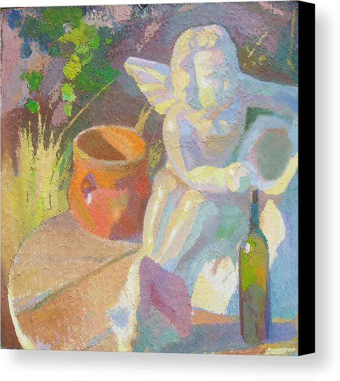 Plein Aire Canvas Print featuring the painting Garden Study With White Angel Figure by Ken Massey