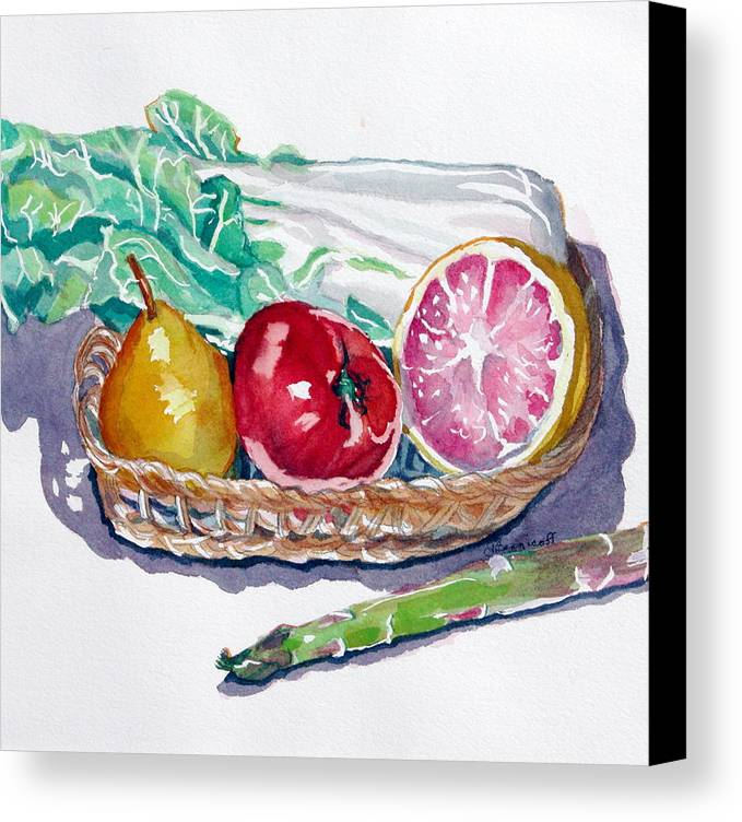Still Life Canvas Print featuring the painting Gift Basket by Jan Bennicoff