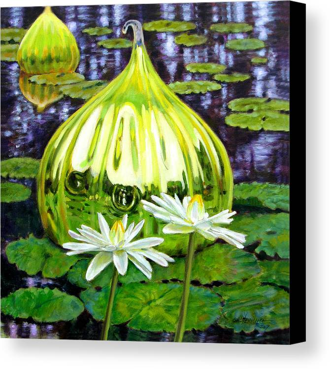Water Lilies Canvas Print featuring the painting Glass Among The Lilies by John Lautermilch