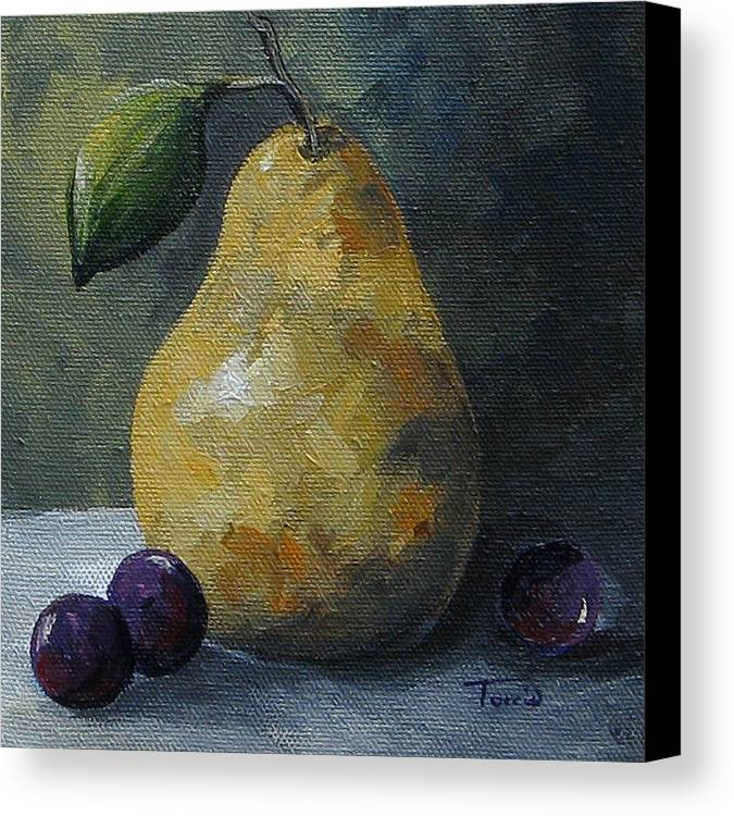 Pear Canvas Print featuring the painting Gold Pear With Grapes by Torrie Smiley