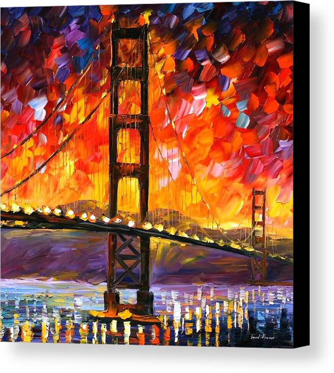 City Canvas Print featuring the painting Golden Gate Bridge by Leonid Afremov