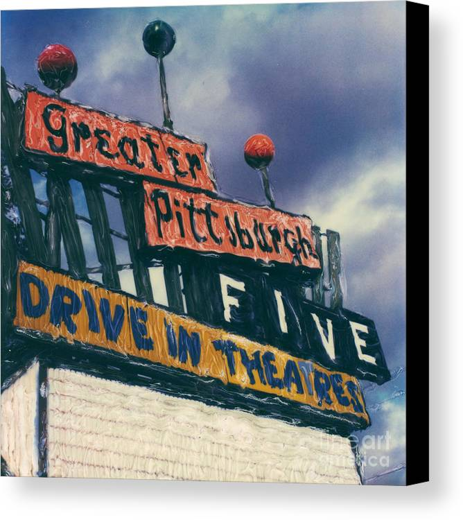 Polaroid Canvas Print featuring the photograph Greater Pittsburgh Five Drive-in by Steven Godfrey